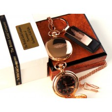 Aston Martin 18k Rose Gold Plated Pocket Watch and Keyring
